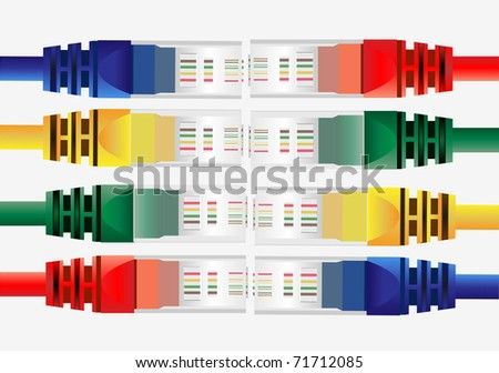 Vector of isolated color conectors rj45 on white - stock vector