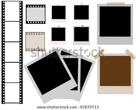 vector of isolated instant photo frames and film strip - more available - stock vector