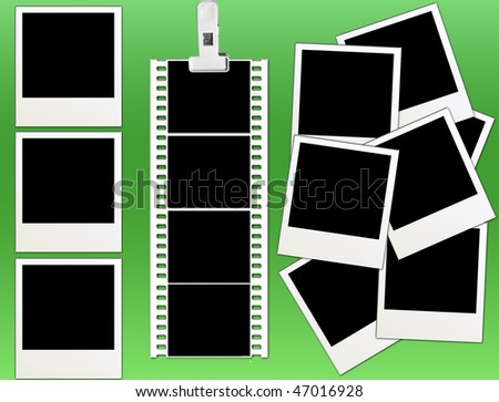 vector of isolated instant photo frames and film strip on green - check for more - stock vector