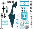 Vector of Israel set with detailed country shape with region borders, flags and icons - stock vector