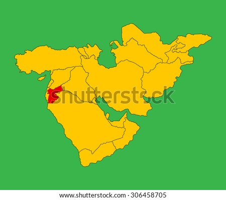 Vector of Jordan map silhouette isolated on Middle east vector map. - stock vector