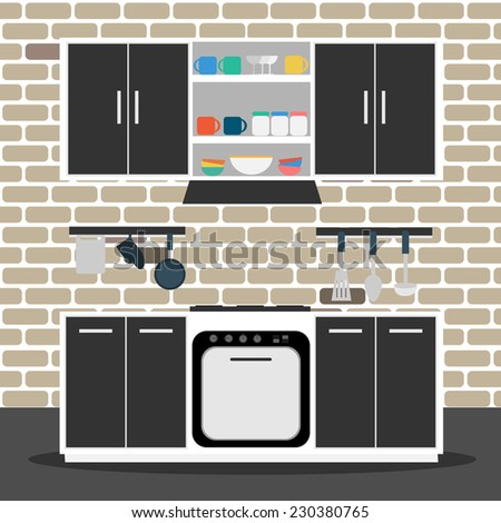Vector of kitchen with brick wall
