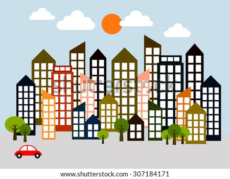 Vector of large cities filled with many skyscrapers and a little trees including a red car in the light blue sky view. - stock vector