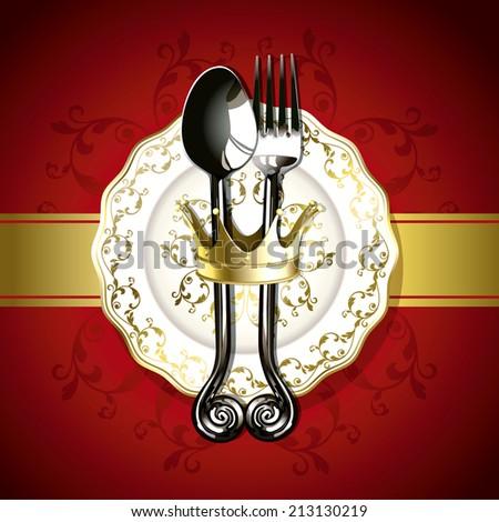 Vector of luxurious gold utensil. For Poster, Menu, Banner - stock vector