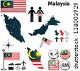 Vector of Malaysia set with detailed country shape with region borders, flags and icons - stock vector