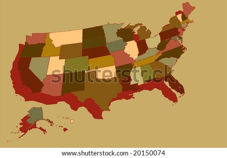 vector of Map of USA in Earth Tones - stock vector