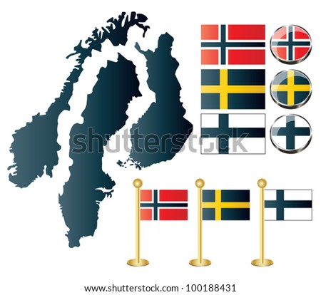 Vector of maps of Norway, Sweden and Finland, and also flags and glossy buttons - stock vector