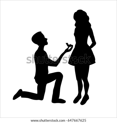 proposal silhouette silhouettes man proposing woman while standing stock 9855