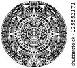 Vector of Mayan calendar on white background - stock vector