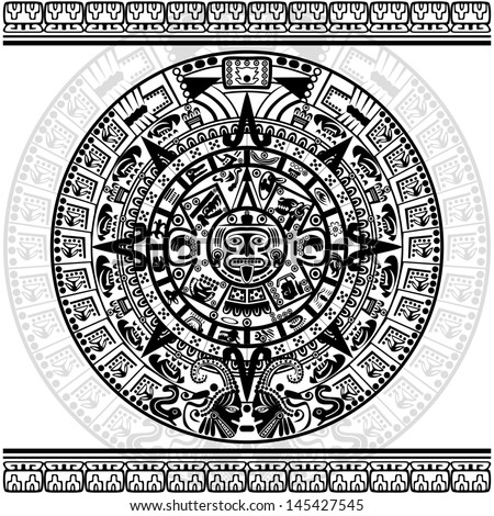 Vector of Mayan calendar on white background. - stock vector