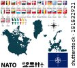 Vector of 28 members of NATO with maps and flags - stock vector