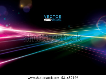 Vector of modern abstract rays of light and background