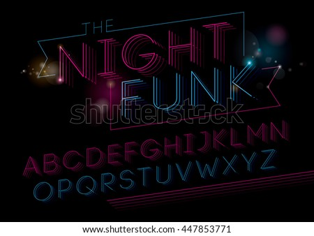 Vector of modern funky font and alphabet - stock vector