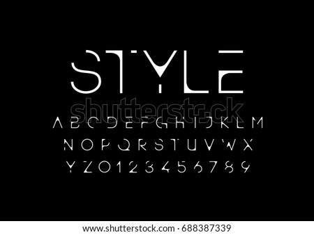 Vector of modern futuristic font and alphabet