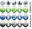 Vector of Modern Icons, in both ON and OFF Modes, and multiple colors, for web, icon, symbol, button design - stock photo