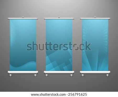 Vector of modern roll up banner with dark blue color. - stock vector