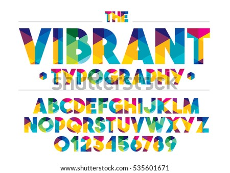Vector of modern stylized colorful font and alphabet