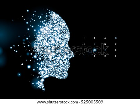 Vector of modern stylized cybernetic human silhouette and element