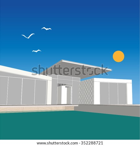 Vector of modern suburban house