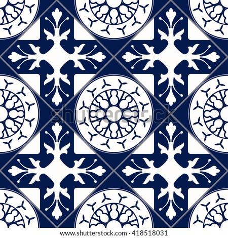 Vector of Moroccan tile Seamless Pattern tile for Design tile, Background, Banner. Spanish tile element for Wallpaper, Ceramic tile or Textile tiles. Middle Ages tile Ornament Texture tile Template - stock vector