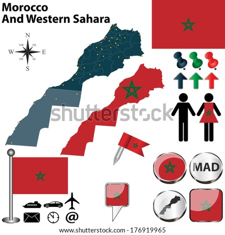 Vector of Morocco And Western Sahara set with detailed country shape with region borders, flags and icons - stock vector