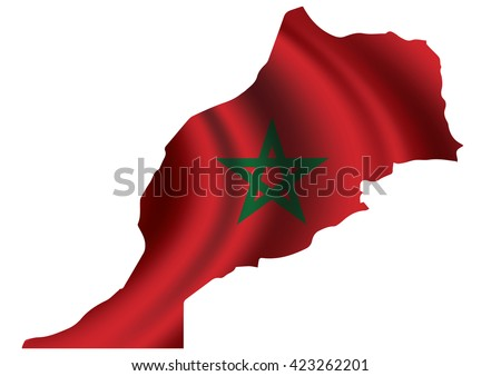 Vector of  Morocco flag blowing in the wind in Morocco map
