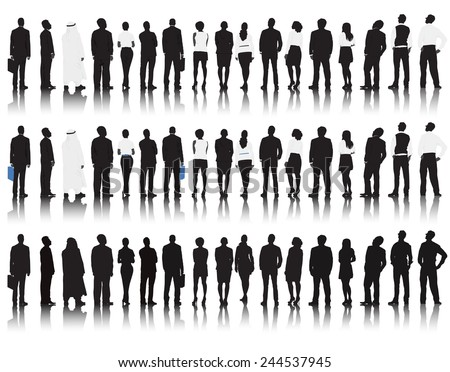 Vector of multi-ethnic business people rear view. - stock vector