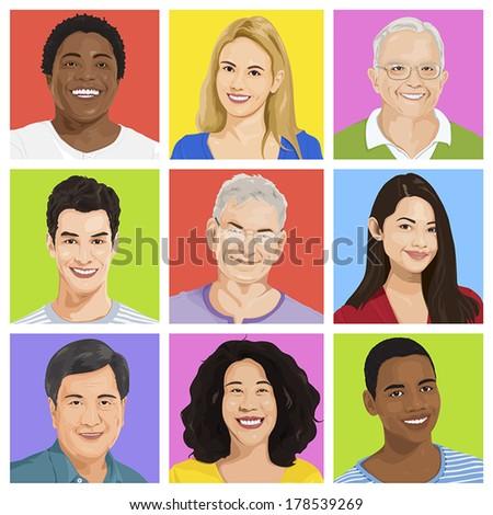 Vector of Multi-ethnic People Portraits - stock vector