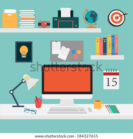 Vector of Office set for work . - stock vector