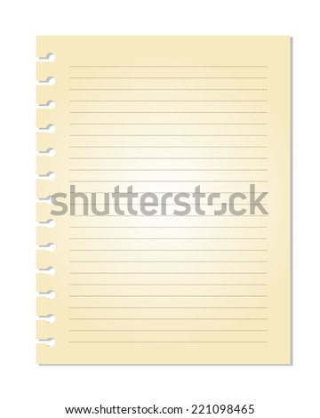 Vector of old Note Paper with line