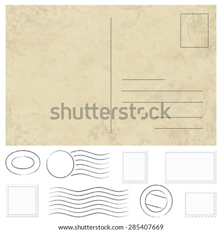 vector of old vintage postcard, stamps and postmarks - stock vector