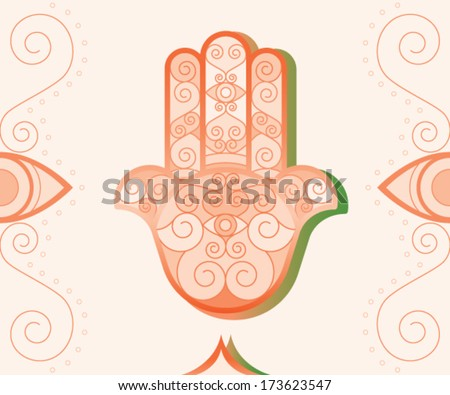 vector of oriental and typical Hamsa Hand (khomsa) . vector file eps10