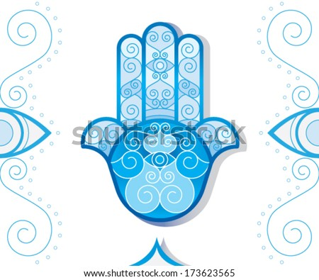 vector of oriental and typical Hamsa Hand (khomsa). vector file isolated on white background . eps10