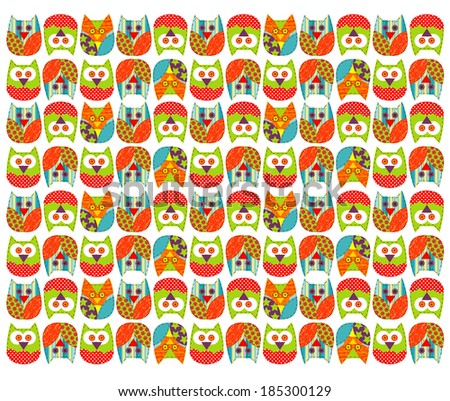 Vector of owl pattern for kids - stock vector