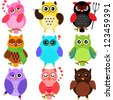 Vector of Owls with different characters. A set of cute and colorful icon collection isolated on white background - stock vector