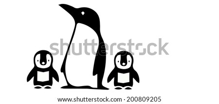 Vector of Penguin and baby - stock vector