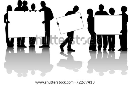 vector of people's groups with posters in white - stock vector