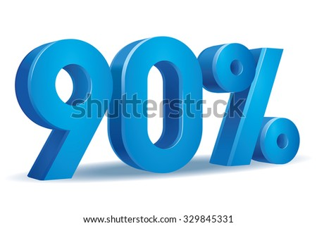 Vector of 90 percent in white background - stock vector