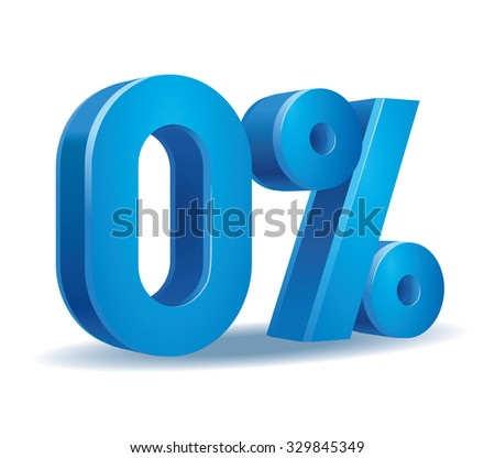 Vector of 0 percent in white background - stock vector