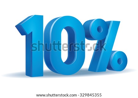 Vector of 10 percent in white background - stock vector
