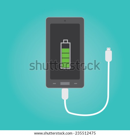 Vector of phone charging - stock vector