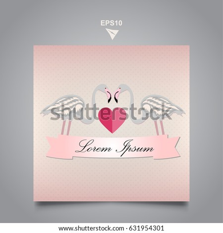 Vector pink paper invite card twin stock vector 631954301 shutterstock vector of pink paper invite card twin swan design for sweet wedding themes junglespirit Image collections