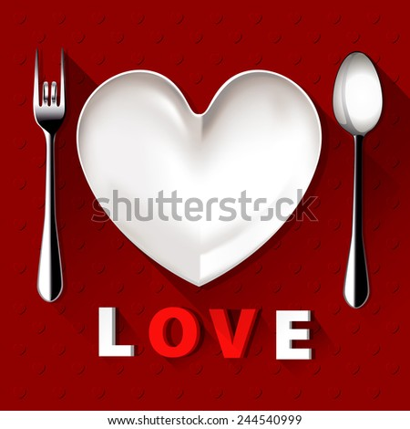 Vector of  plate in shape of heart, table spoon and fork on red background  - stock vector
