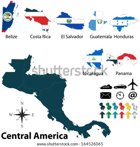 Vector of political map of Central America set with buttons flags on white background - stock vector
