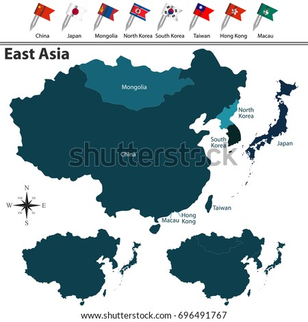 vector political map east asia set stock vector 2018 696491767 shutterstock