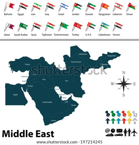 Vector of political map of Middle East set with buttons flags on white background - stock vector