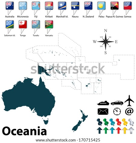 Vector of political map of Oceania set with buttons flags on white background - stock vector