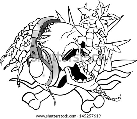 Easy skull outlines easy free engine image for user for Rasta coloring pages