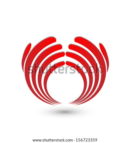 Vector of red abstract hands - stock vector