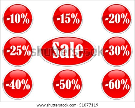 Vector of red discount labels